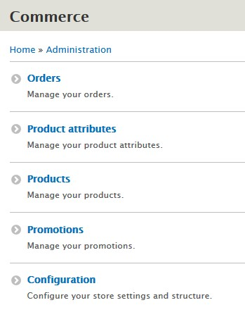 commerce drupal administration